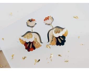Nouveau Flower Drop Earrings. Laser Cut Acrylic Perspex. Marbled Floral Art Deco Retro Dangle Studs. Gold Cream Tortoiseshell Glitter.
