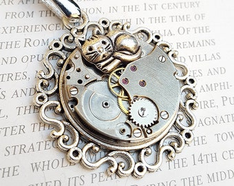 Steampunk Cat Necklace Pendant Charm -Watch Part Necklace- CatWoman Necklace Gift for Steampunk Lovin