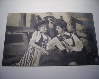 German postcard germany black and white old photograph girl and boy romance upcycled recycled repurposed erotic postcard erotica photo
