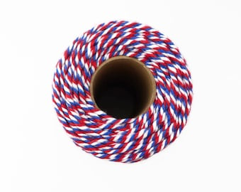 Airmail Baker's Twine in Red, White & Blue 100m - Air Mail Packaging String