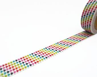 Rainbow Hearts Washi Tape - Colourful Mini Love Hearts Masking Tape