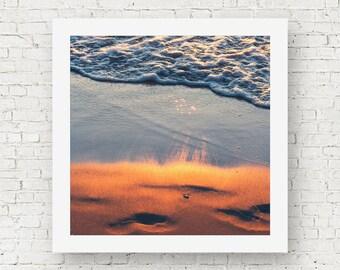 Beach wall decor, beach photography, orange sunset wall art, Lake Michigan art, beach print Michigan print photography print square wall art