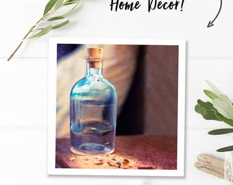 Digital download photography, beach photography, printable, summer art, still life, surrealism, footprints in sand in a bottle, square print