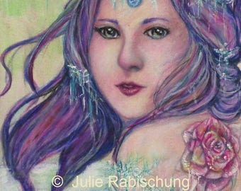woman, rose, ice, portrait, art, print