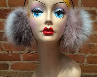 Faux Fur Earmuffs - Fluffy Multi-Toned Multi-Textured Hazy Blue, Berry and Grey Fox Faux Fur Earmuffs