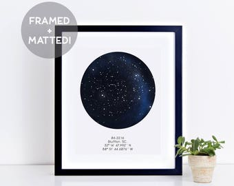 Custom Framed Night Sky Print, Astrological Print, Engagement Gift, Anniversary Print, Custom Print, Framed Art, Under This Sky