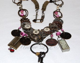 Ben Franklin Themed Steampunk Clockwork Necklace