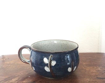 Stoneware Soup Mug - Deep Blue with White Flowers