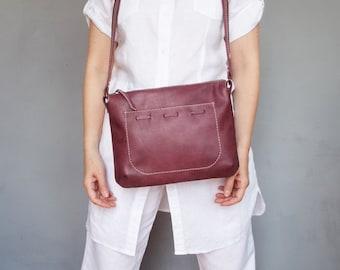 Wine leather crossbody bag. Small leather wine purse. Burgundy shoulder bag leather. Leather handbag.