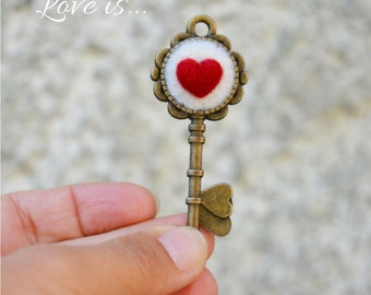 Heart key Alice in Wonderland pendant, love charm for unconventional engagement, my heart is your badge, romantic steampunk detail