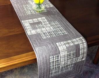 Modern Table Runner, Taupe White & Grey Wallhanging, Quilted Tablerunner, Modern Table Decor, Plaid Bed Runner, Reversible Table Runner