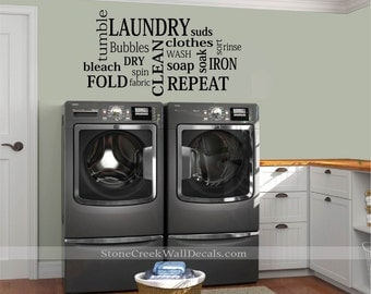 Laundry Room Wall Decals  Laundry Room Decals  Laundry Subway Art Sign Laundry Room Wall Decor  Laundry Wall Decals  Laundry Room Signs