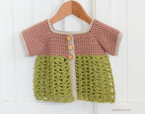 CROCHET PATTERN - Secret Garden Toddler Cardigan