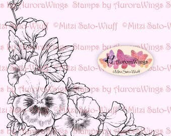 Digital Stamp Instant Download - Pansy Corner 2 - digistamp - Corner Arrangement - Floral Line Art for Cards & Crafts by Mitzi Sato-Wiuff