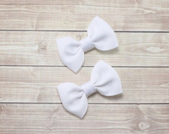 Small White Bows, Small White Hair Bows, Baby Clips, White Bows, Small Baby Bows, Baby Hair Clips, White Hair Clips, Mini Bows, Pigtail Bows