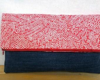 Red Herringbone Foldover Clutch /  Magnetic Snap / Upcycled Denim