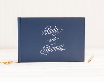 Wedding Guest Book Personalized Guest Book landscape horizontal Guest Sign In Book navy wedding book hardcover wedding album wedding planner