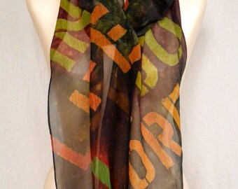 "Beatles ""In My Life"" - Block Text - Hand Painted Silk Chiffon Scarf in Earth and Jewel Tones"