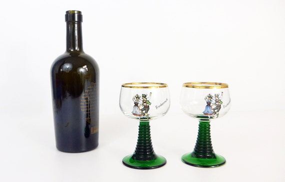 Pair Vintage Roemer Green Stem Wine Glasses - 2 Green Stem Clear Bowl w/ Frankenmuth & Picture of Dancing Couple - Gold Rims