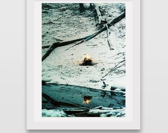 fire and ice photography, winter fire and snow, canvas photo prints, wall art decor, fine art photo, reflection photography, surreal photos