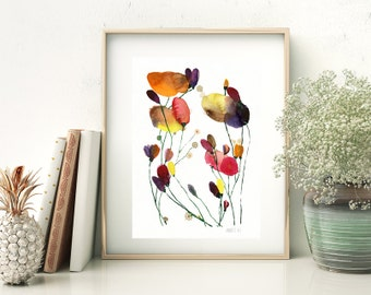 Floral watercolor art print. Modern flowers wall art. Minimalist flower art printcard by Annemette Klit. Colorful watercolor flower painting