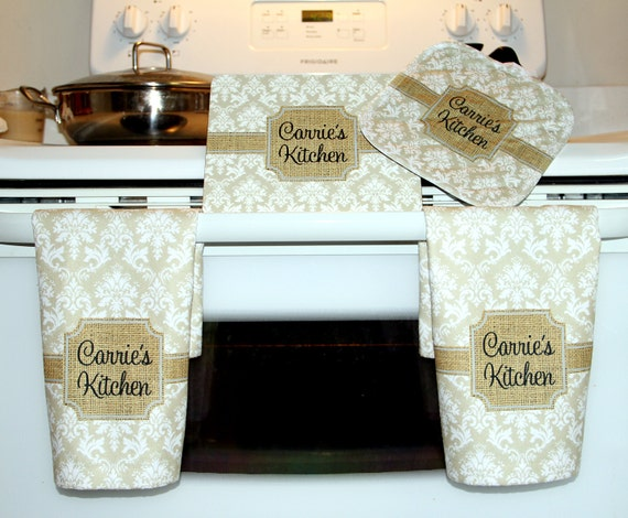 Cooking Gift Set Kitchen Hand Towels Trivet Pot Holder Personalized Custom Hot Plate Dish Towels Oven Mitt Birthday Gift for Mom