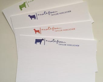 Personalized Livestock Note Cards - 4x6 - Flat QTY 5
