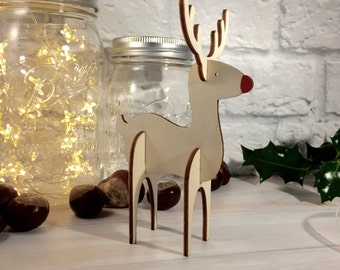 3D Wooden Reindeer Christmas Ornament / Table Decoration
