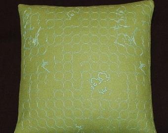 "Layers Vineyard Small by Hella Jongerius Jade/Turquoise Maharam throw Pillow 17"" X 17""- feather insert"