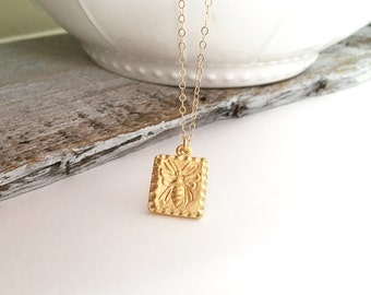 Sweet Honey Bee Tag Necklace, Gold Honey Bee Necklace, Sterling Silver Honey Bee Tag Necklace, SWEET HONEY on the back