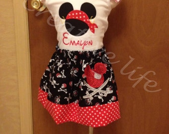Disney Cruise  Pirate night  Skirt  and Tank top - Size 2T - Youth 12