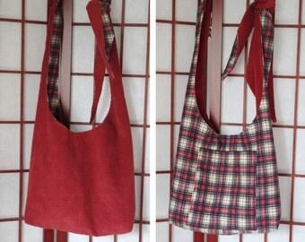 Corduroy Crossbody, Ecofriendly Hippie Bag, Fabric Hobo Bag, Boho Bag, Recycled Fabric Bag, Reversible Sling Bag, Adjustable Strap, Handmade
