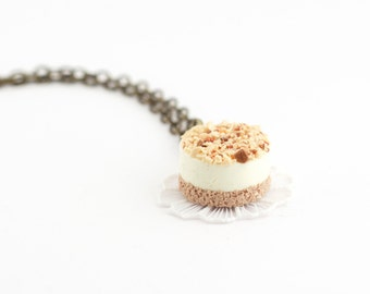 Cheesecake necklace - hazelnut cake necklace - food jewelry - miniature food - dessert necklace - gift idea - sweet pendant - birthday gift