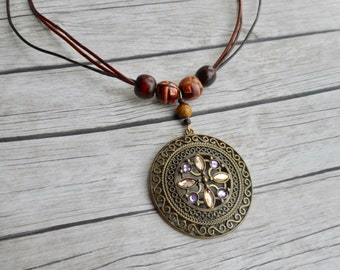 Brown leather necklace Antique bronze pendant stylish bohemian gypsy ladies fashion jewelery handmade jewelry boho Distressed brown leather