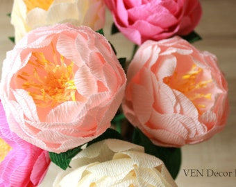 6 Wedding Paper Peonies, Wedding Peonies Centerpieces, Paper Flower Centerpieces, Table Decor, Bridal Shower Decorations Paper Peony Bouquet