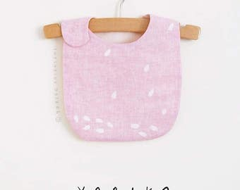 Sakura bib | pale pink linen | cherry blossoms print | made in NYC by the artist | individually printed & sewn