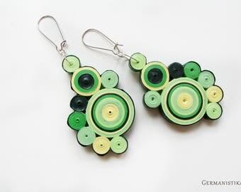 Greenary Earrings, Green Geometric Dangle Earrings, Summer Earrings, Paper Quilling Jewelry, Quilled Paper Jewelry, Statement Earrings