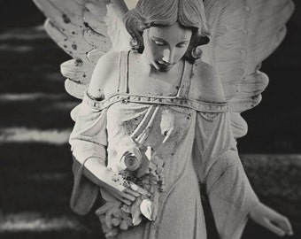 Photography, statue of an angel in cemetery, emotion, adore, wings of angel, B/W photo, artistic photography, serenity, peace, mourning