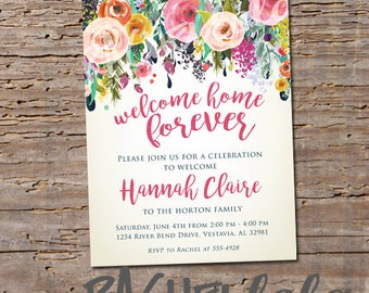 Floral Watercolor, Welcome home forever, printable digital template, adoption baby shower party invitation, girl, garden spring flower