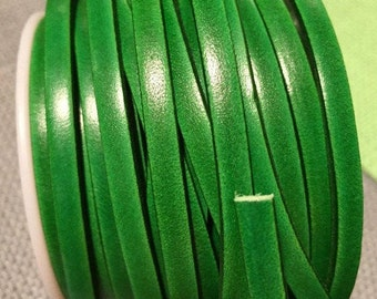 "PER 16""  5mm flat Italian Dolce Vivid Green Flash 5mm Flat Leather Cord finding, jewelry supplies strap"