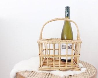 Vintage Wine Rack Caddy Wine Bottle Holder Rattan Boho Home Decor Kitchen Bar Christmas Gift