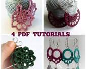 Set of 4 Crochet Patterns, Crochet Earrings PDF Pattern, Crochet Jewelry Pattern, Jewelry PDF Ebook, DIY Jewelry, Crochet Lace pdf pattern