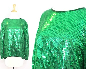 Green Sequined Party Blouse