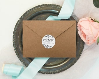 Rustic Black & White Handwritten Wedding Return Address Stickers | Favor Sticker | Envelope | Thank You | Gift | Product | Candle Favour