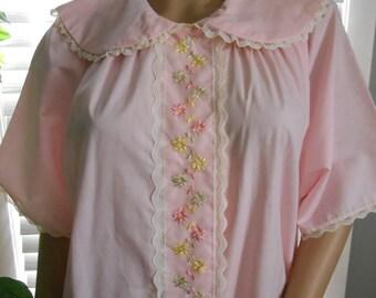 Vintage 50'S-60'S Pink Oversized House Coat / Robe
