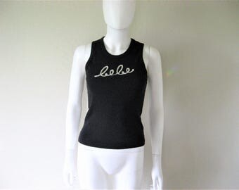 BEBE Sequined Ribbed Black Tank Top