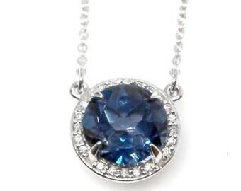"14K White London Blue Topaz & .05 CTW Diamond 16"" Necklace"