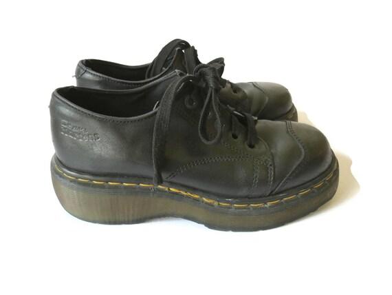 Doc Martens Platform Low Cut Chunky Combat Boots 5 Eye Black