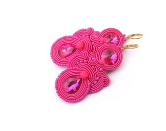 Pink Dangle Earrings, Soutache Earrings with Crystals, Handmade Fuchsia Pink Earrings, Dangle Earrings, Pink Earrings, Soutache Earrings