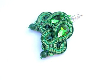 Green Dangle Earrings, Soutache Earrings with Crystals, Hand Embridery Soutache Jewelry